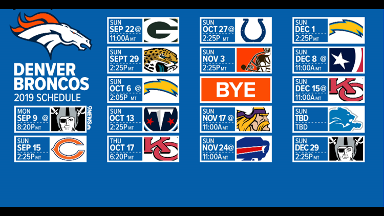 image relating to Green Bay Packers Printable Schedule named Denver Broncos launch 2019 program