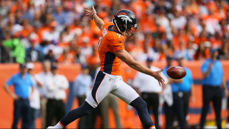 Riley Dixon punts the ball in the first quarter of the game against the San Diego Chargers at Sports Authority Field at Mile High on October 30, 2016 in Denver, Colorado.