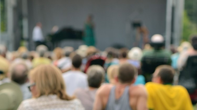 summer music concert festival  Outdoor free jazz concert on grass in summer