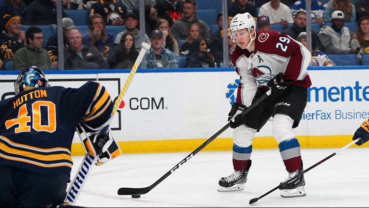 Nathan MacKinnon has scored in all four of Colorado's games this season, now has five total after netting two on Thursday night on the road.