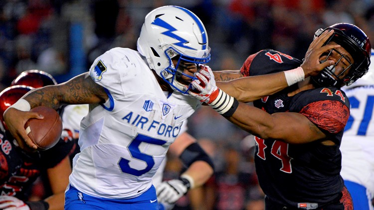 San Diego State beat Air Force 21-17 Friday night in a game delayed 1 hour, 7 minutes by lightning.