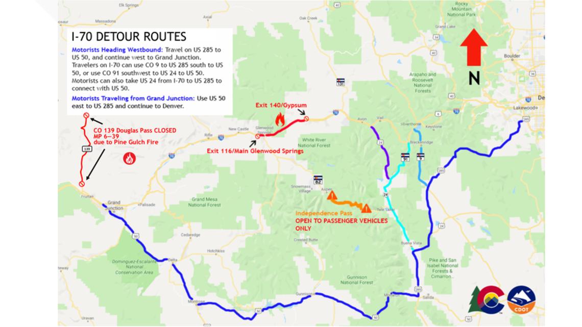 Colorado Road Closures Due To Wildfires 9news Com