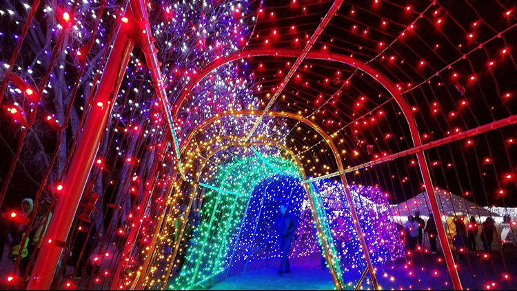 A Hudson Christmas lights walkway