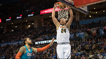 Nuggets hold early lead in 105-98 win over the Thunder