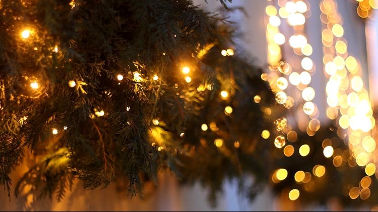 green garland Christmas Lights