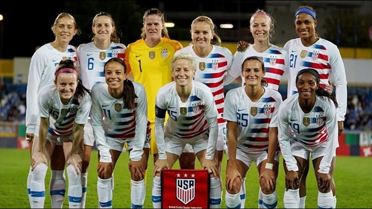 USWNT players pose for a team photo before the start of the International Friendly match between Portugal and Team USA.