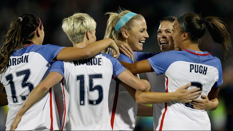 USWNT celebrate Julie Ertz's second goal in the first half against New Zealand at Dick's Sporting Goods Park on September 15, 2017.