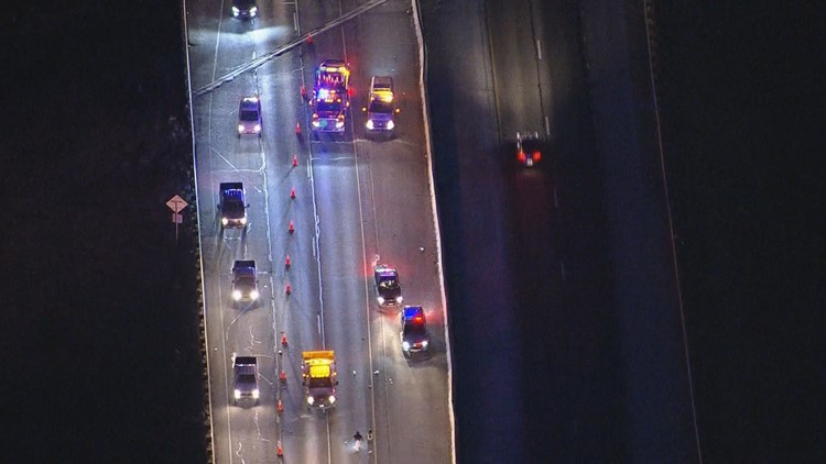 Southbound I-25 closed near Larkspur after pedestrian struck and killed
