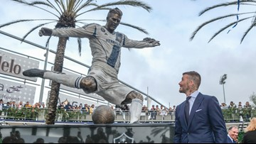 LA Galaxy unveil statue of Beckham before win over Chicago