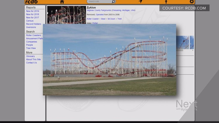 The coaster at the in  Chesaning, Mich. (Screenshots of RCDB.com)