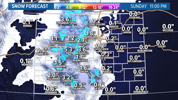 Snow Blog: Mountain snow Saturday, flurries on the Front Range
