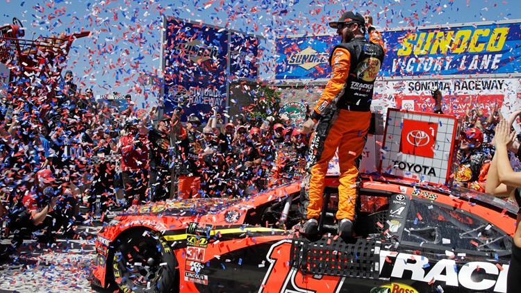 Truex Jr. holds off Kyle Busch to defend Sonoma title