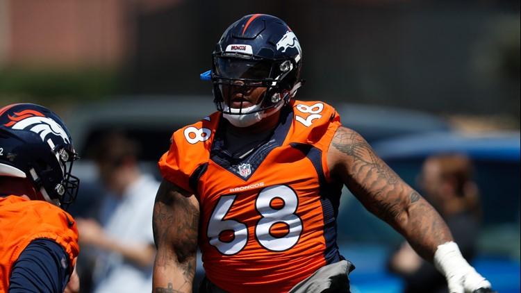 Denver Broncos offensive tackle Elijah Wilkinson