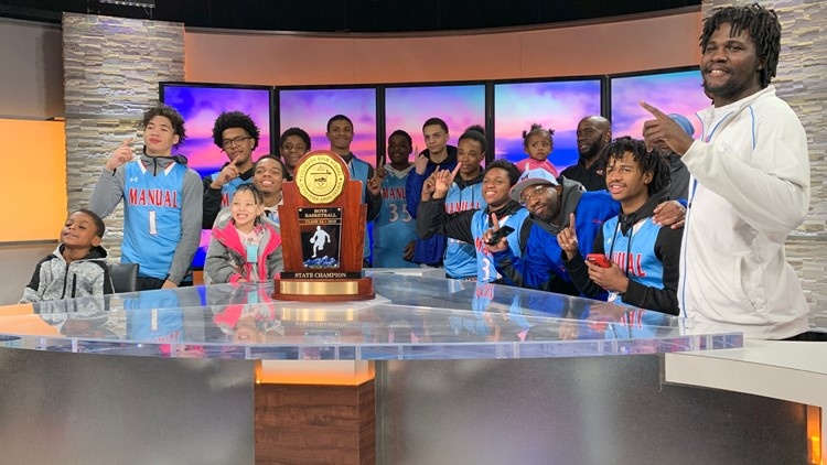 Manual High School basketball visits 9NEWS to celebrate state championship