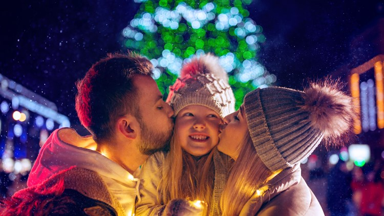 family, christmas, holidays, season and people concept - happy family over lights city background and snow at night christmas festival