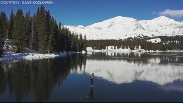 This drone video of lake skating in Colorado is hauntingly beautiful