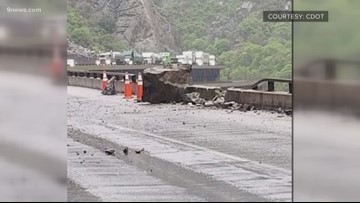 1 westbound lane of I-70 remains closed after large rockslide in Glenwood Canyon