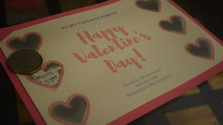 Valentine's Day scratch off card