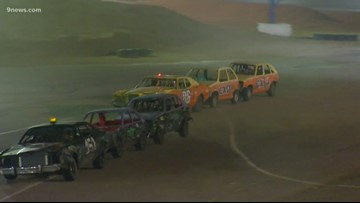 Train racing at Colorado National Speedway in Dacono