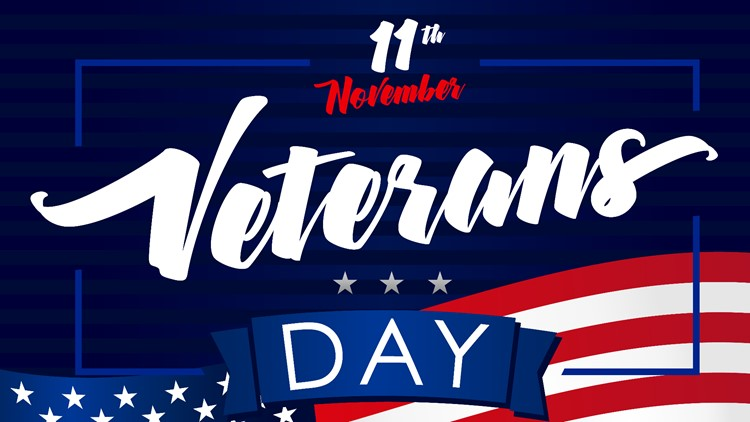Veterans day USA November 11, poster. Honoring all who served, lettering vector background