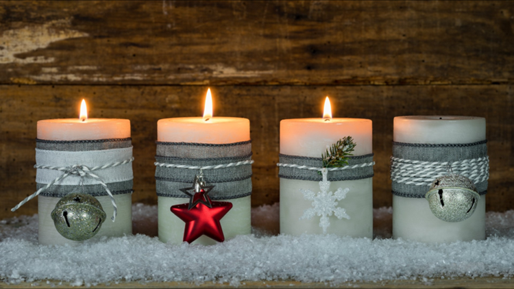 Christmas candles crafts wood background