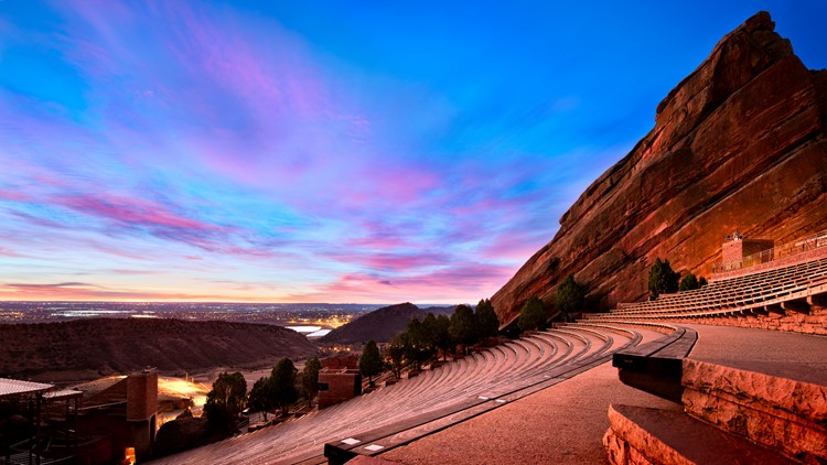 Red Rocks Amphitheater at sunrise, near Denver Colorado
