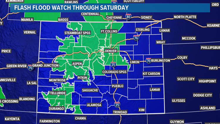 Flash Flood Watch includes Denver, more than an inch of rain could fall through Saturday