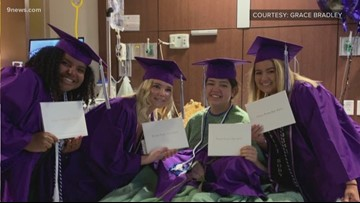 She couldn't go to her high school graduation, so her friends brought it to her
