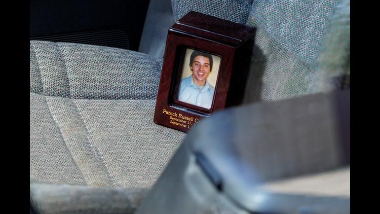 Patrick's urn reads: Patrick Russell Carver, September 17, 1997, September 1, 2010.