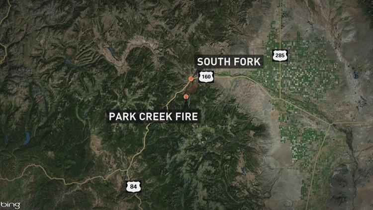 The Park Creek Fire has been burning in Rio Grande in southwest Colorado since Saturday.