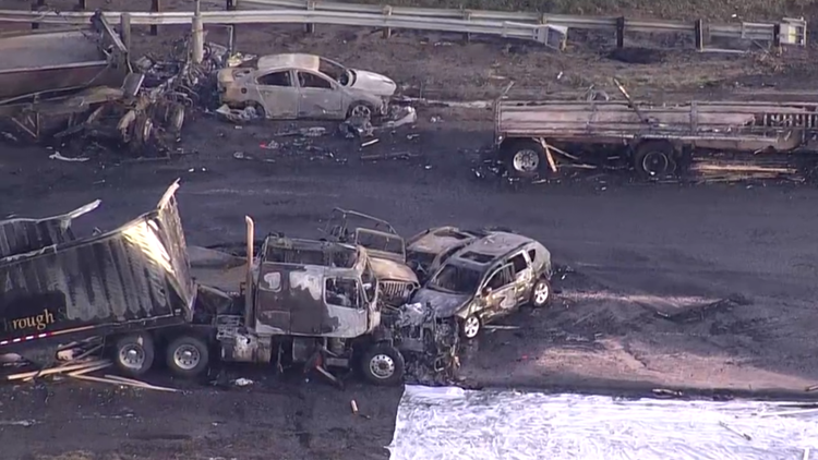 I-70 closed following fiery crash in Lakewood Friday AM Sky 9