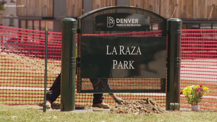 La Raza Park sign installed and immediately taken down
