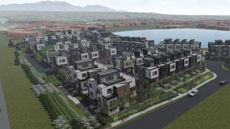 A rendering of a 94-unit townhome community planned for a Boulder suburb.