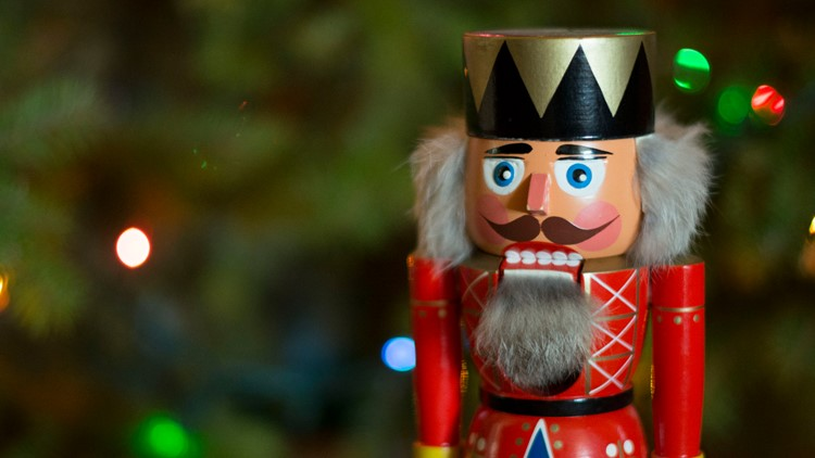 Nutcracker by the tree - stock photo