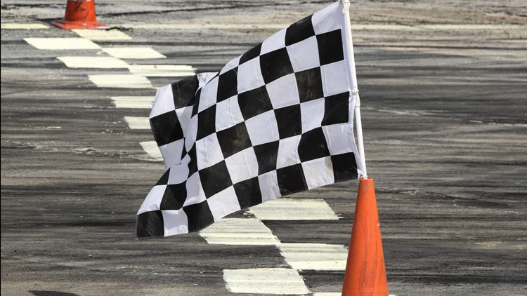 Finish flag on track in racing car checkered flag soap box derby