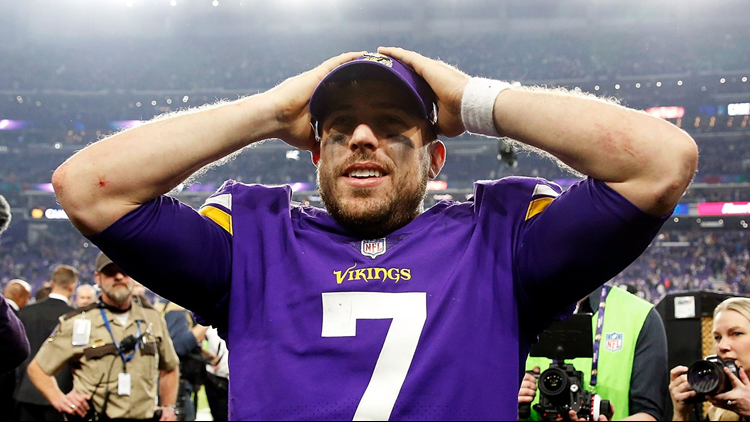 Case Keenum celebrates as he walks off the field after the Vikings defeated the New Orleans Saints to win the NFC divisional round playoff game on January 14, 2018. Photo by Jamie Squire/Getty Images.