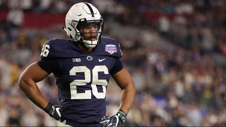 Saquon Barkley walks on the field during the second half of the Playstation Fiesta Bowl against the Washington Huskies at University of Phoenix Stadium on December 30, 2017. Photo by Christian Petersen/Getty Images.