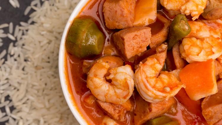 A Bowl of Cajun Seafood Gumbo on a Slate Countertop