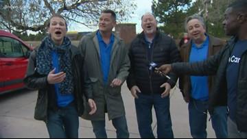 Barbershop quartet visits the 9Cares Colorado Shares food drive