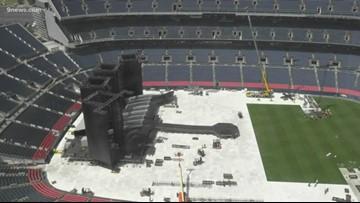 RAW | Crews in Denver prepare Broncos Stadium for concert by The Rolling Stones