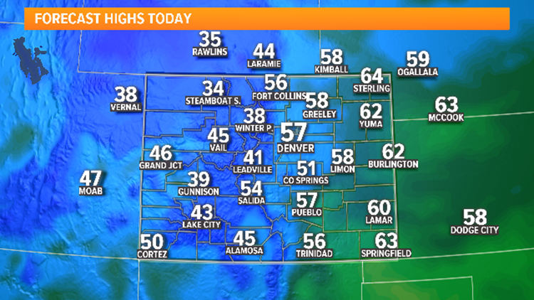 Cold, snowy Sunday across Front Range