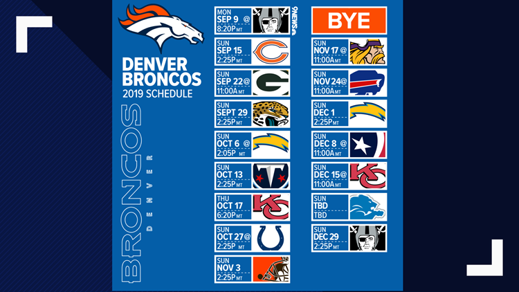 graphic regarding Denver Broncos Schedule Printable named Denver Broncos launch 2019 routine