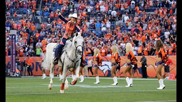 A day in the life of the Denver Broncos mascot, Thunder the horse
