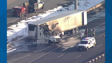 Eastbound I-70 at Denver West exit reopens after semi fire