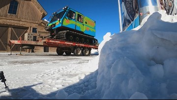 Scooby-Doo themed snowcat grooms slopes near Copper Mountain