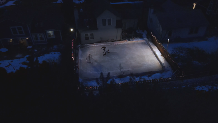 A 9NEWS photojournalist has a homemade ice rink in his suburban backyard