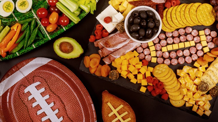 Delicious charcuterie board and veggie with dipping for Super Bowl football game. game day food
