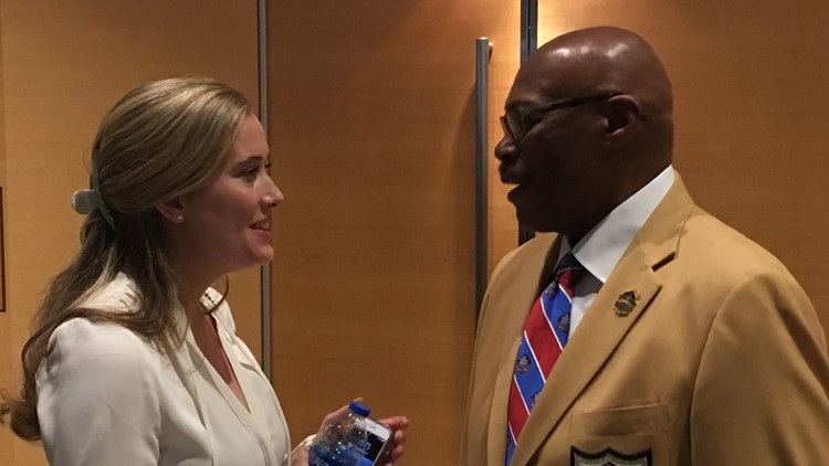 Brittany Bowlen with Floyd Little at Super Bowl LIII  2