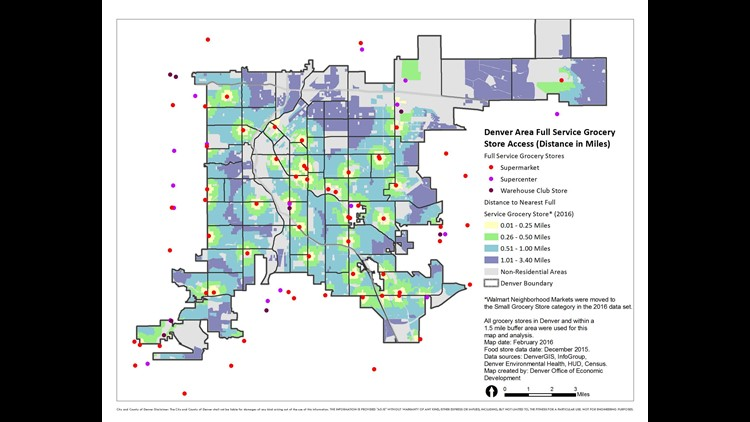 A look at local food deserts. (Photo: Provided to 9NEWS)