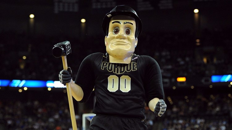 Purdue Pete, the mascot for the Purdue Boilermakers. (Photo by Eric Francis/Getty Images)
